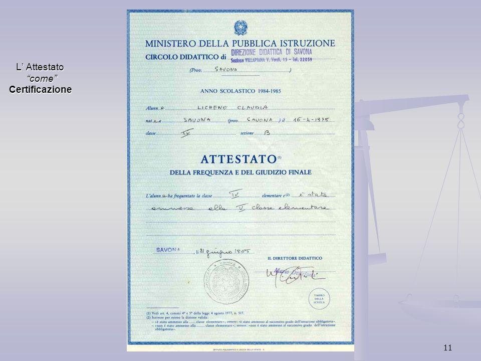 L' Attestato come Certificazione