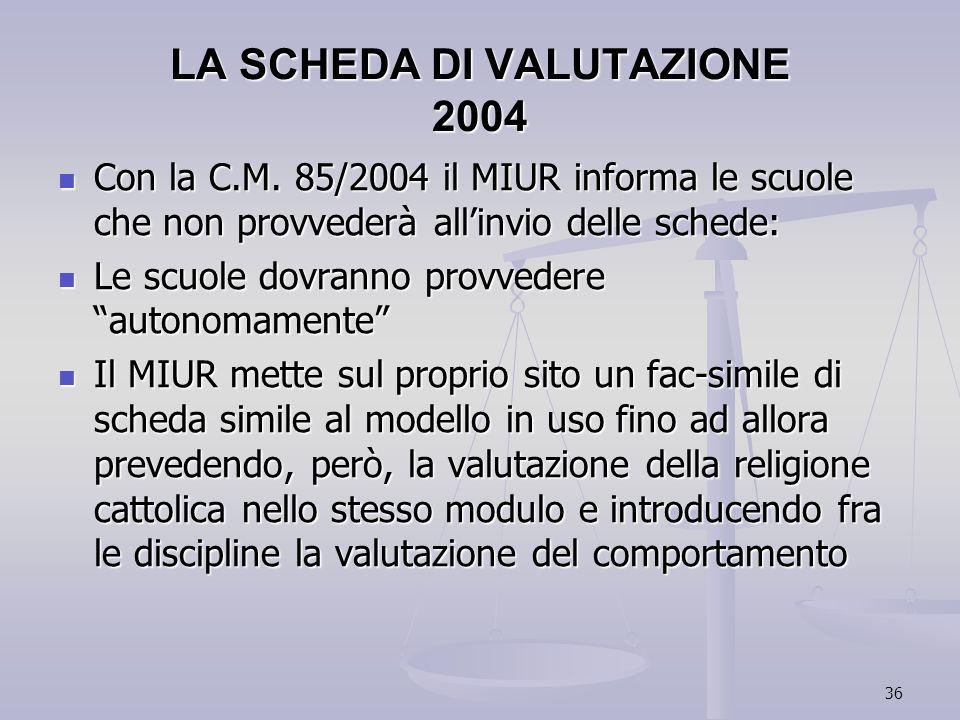 LA SCHEDA DI VALUTAZIONE 2004