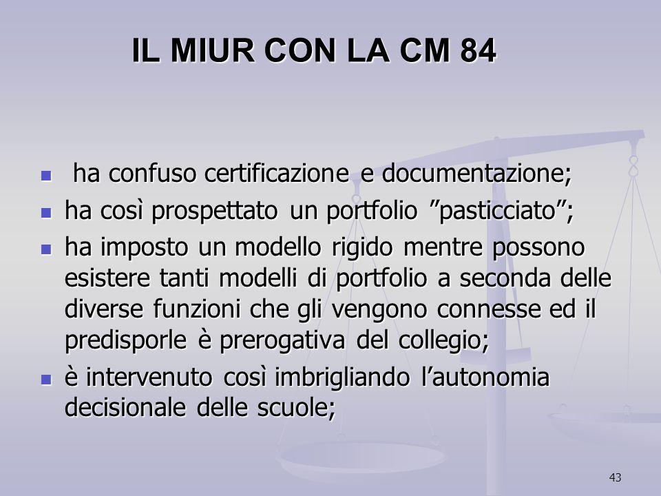 IL MIUR CON LA CM 84 ha confuso certificazione e documentazione;