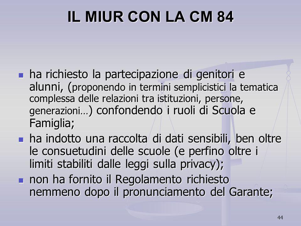 IL MIUR CON LA CM 84