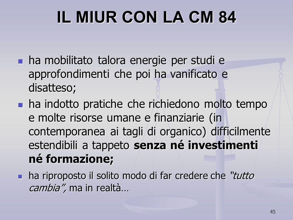 IL MIUR CON LA CM 84 ha mobilitato talora energie per studi e approfondimenti che poi ha vanificato e disatteso;