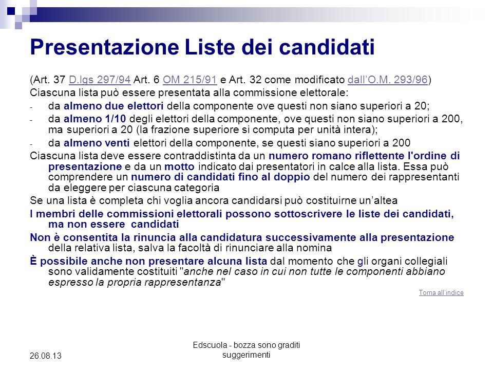 Presentazione Liste dei candidati