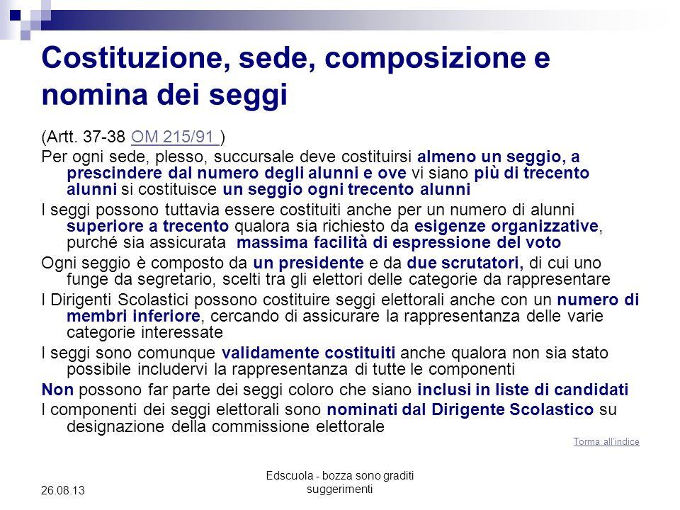 Costituzione, sede, composizione e nomina dei seggi