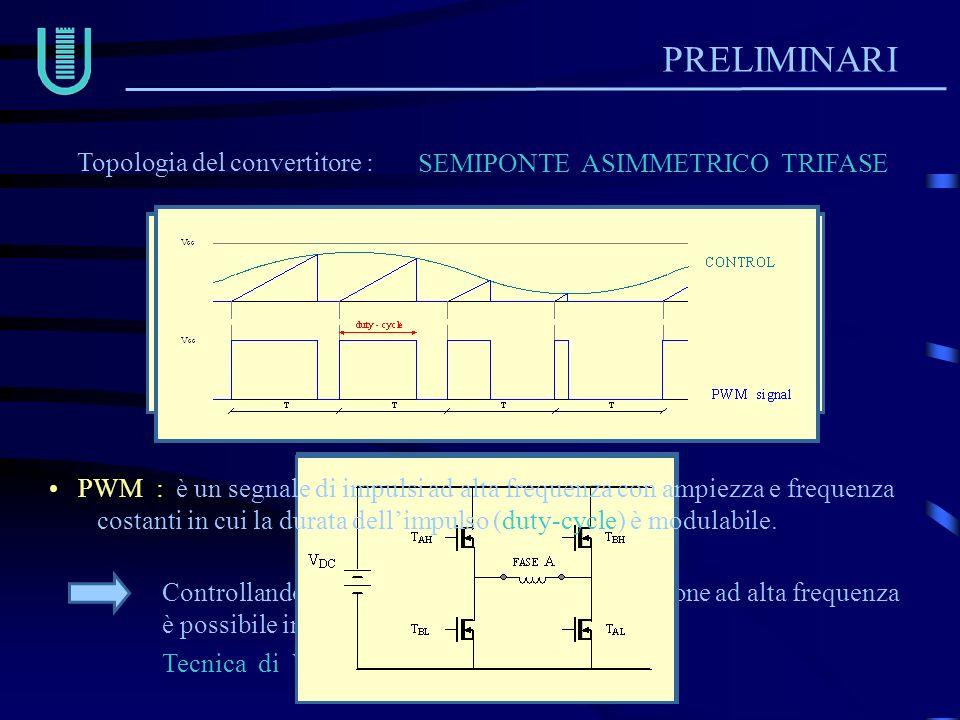 PRELIMINARI Topologia del convertitore : SEMIPONTE ASIMMETRICO TRIFASE