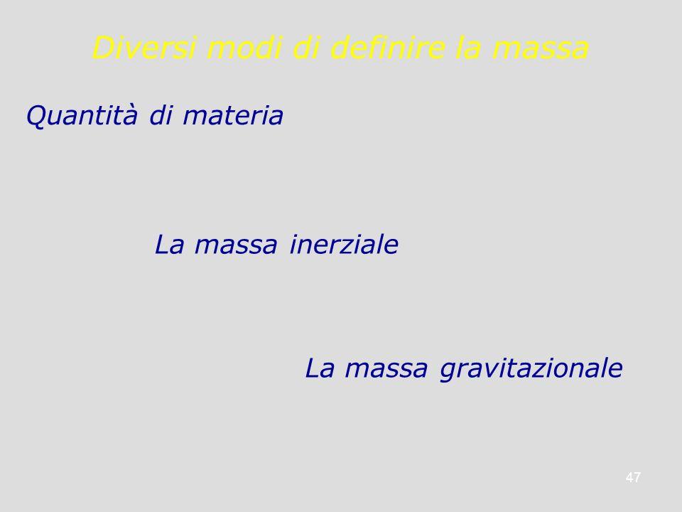 Diversi modi di definire la massa
