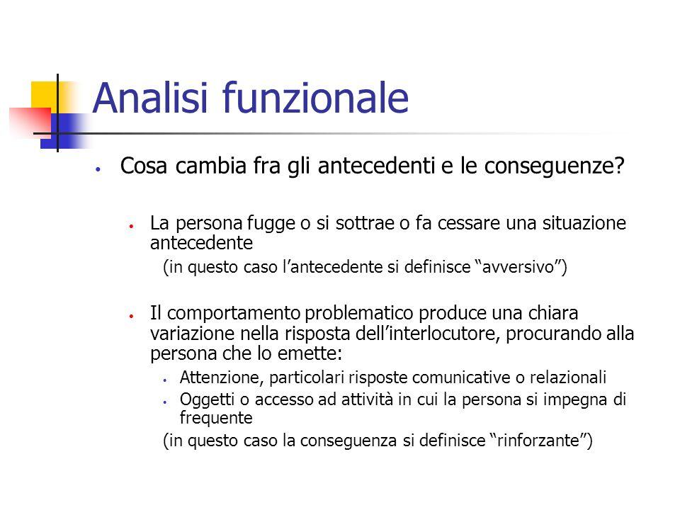 Analisi funzionale Cosa cambia fra gli antecedenti e le conseguenze