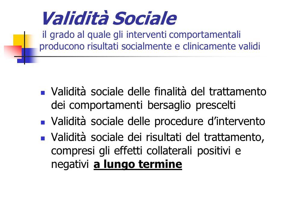 Validità Sociale il grado al quale gli interventi comportamentali producono risultati socialmente e clinicamente validi
