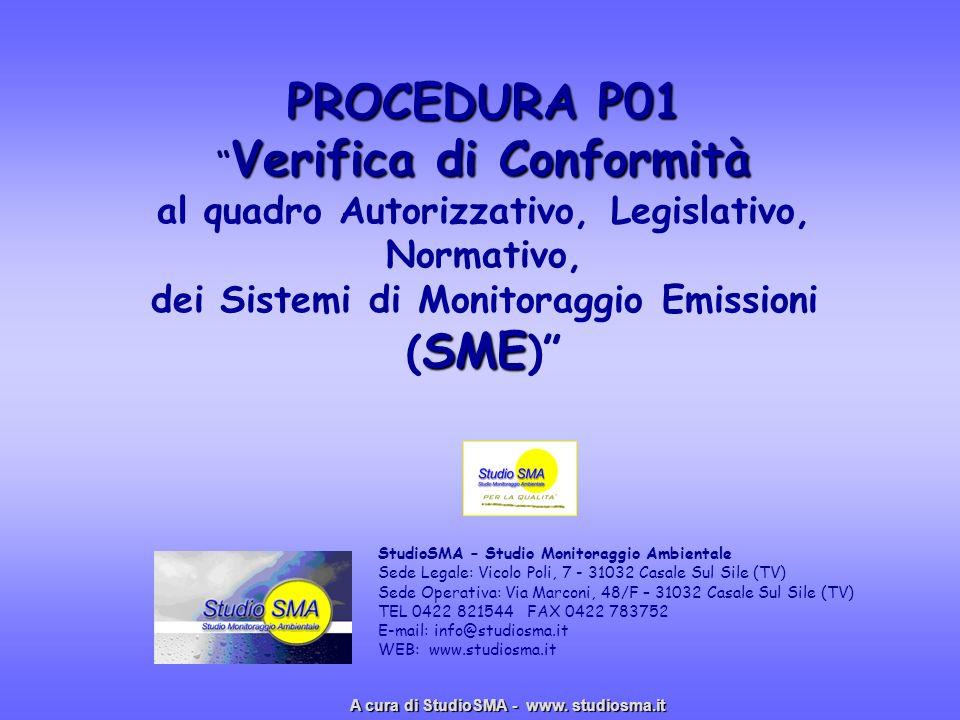 PROCEDURA P01 Verifica di Conformità al quadro Autorizzativo, Legislativo, Normativo, dei Sistemi di Monitoraggio Emissioni (SME)