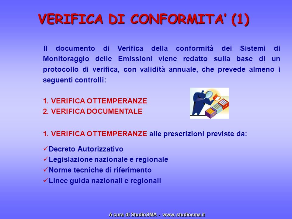 VERIFICA DI CONFORMITA' (1)