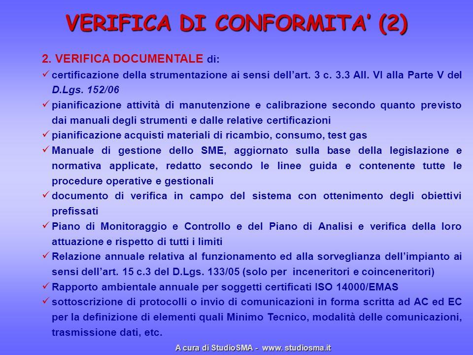 VERIFICA DI CONFORMITA' (2)