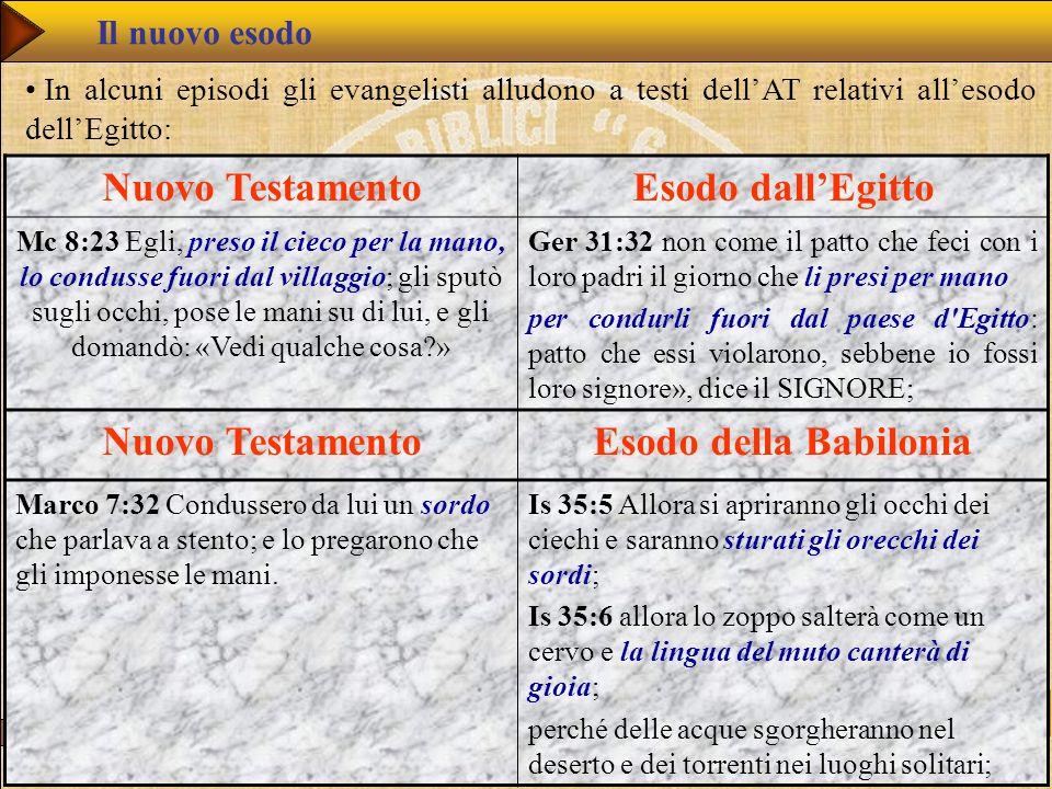 Nuovo Testamento Esodo dall'Egitto Esodo della Babilonia