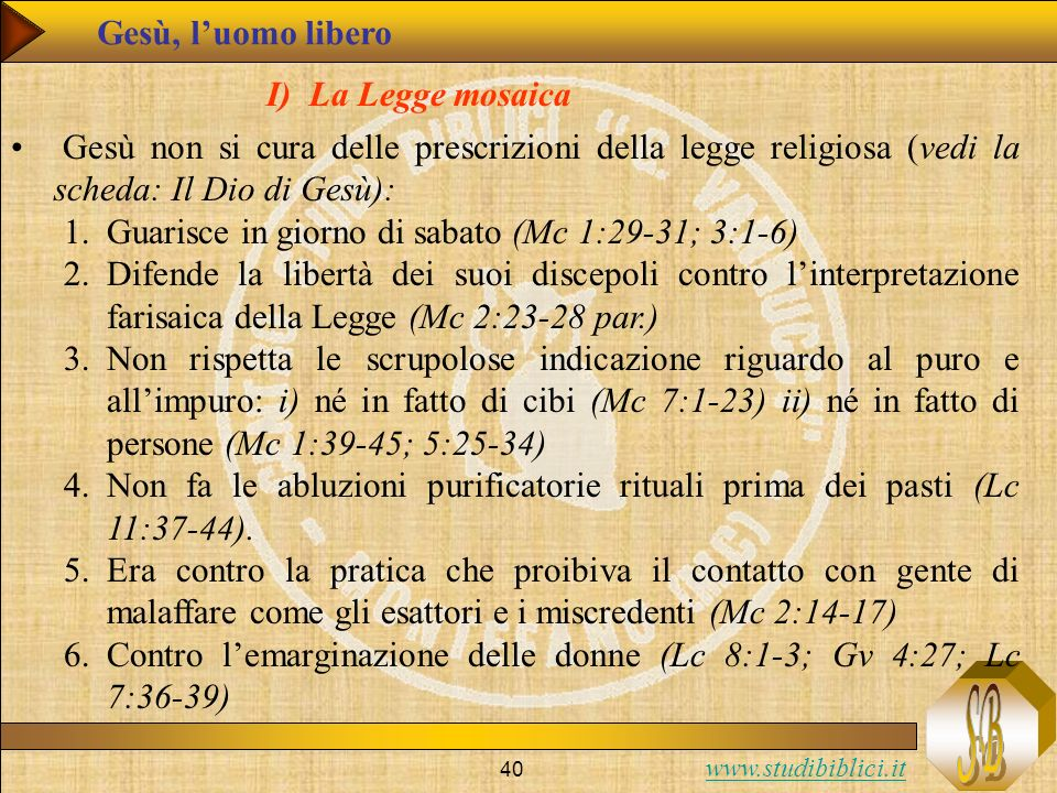 Gesù, l'uomo libero I) La Legge mosaica. Gesù non si cura delle prescrizioni della legge religiosa (vedi la scheda: Il Dio di Gesù):