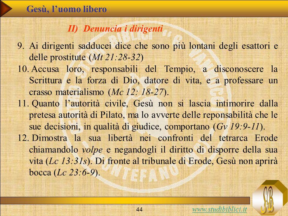 Gesù, l'uomo libero II) Denuncia i dirigenti. Ai dirigenti sadducei dice che sono più lontani degli esattori e delle prostitute (Mt 21:28-32)