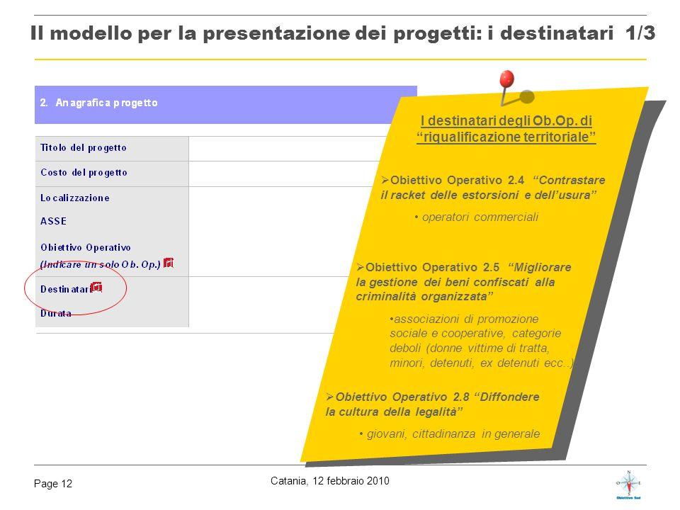 Il modello per la presentazione dei progetti: i destinatari 1/3