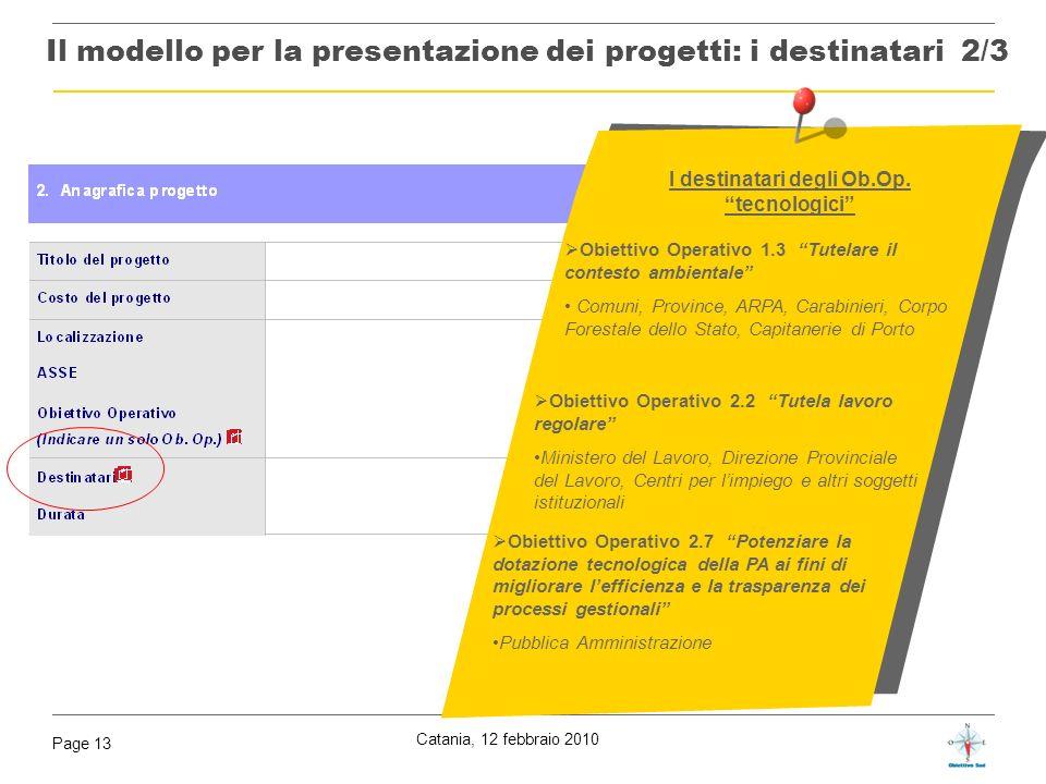 Il modello per la presentazione dei progetti: i destinatari 2/3