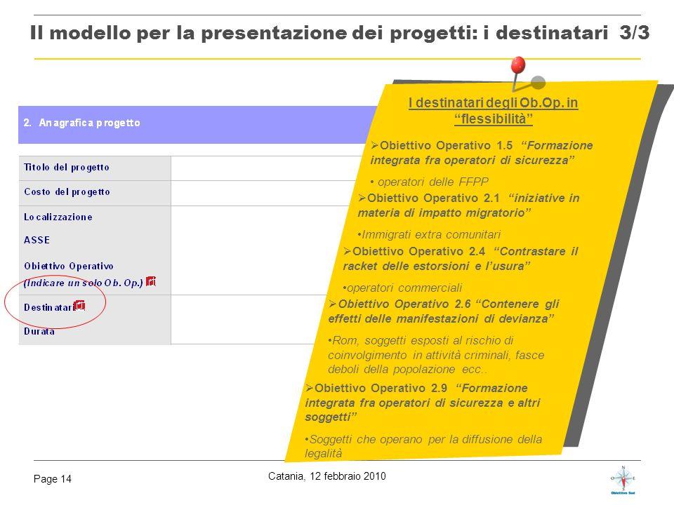 Il modello per la presentazione dei progetti: i destinatari 3/3
