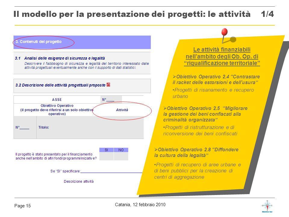 Il modello per la presentazione dei progetti: le attività 1/4