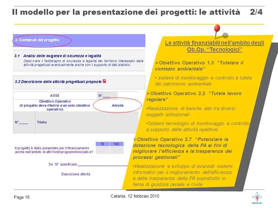 Il modello per la presentazione dei progetti: le attività 2/4