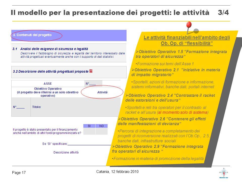 Il modello per la presentazione dei progetti: le attività 3/4