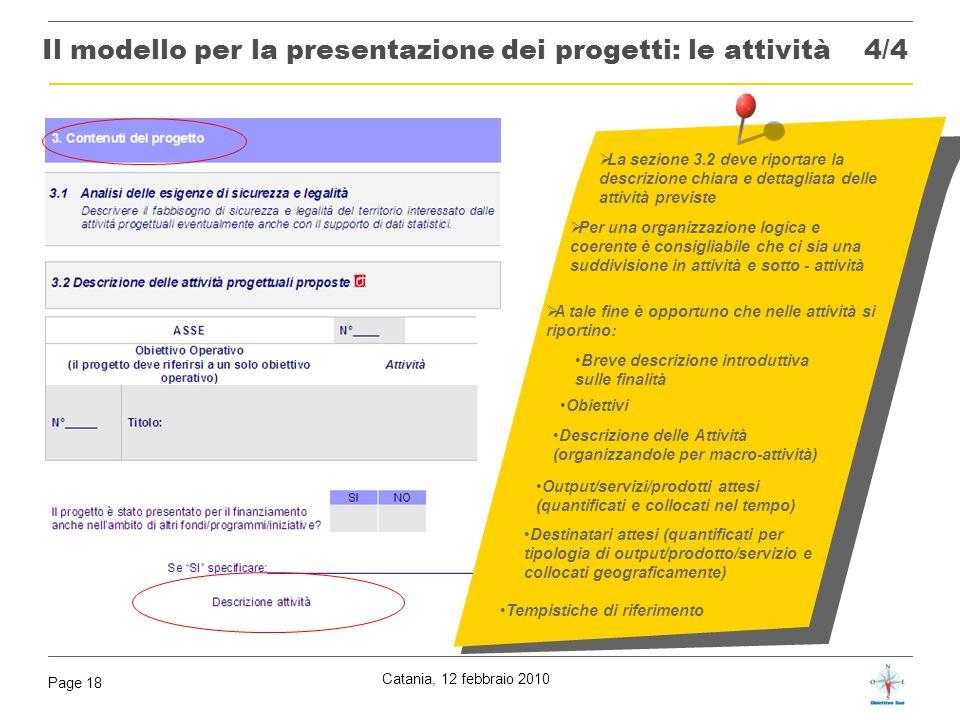 Il modello per la presentazione dei progetti: le attività 4/4