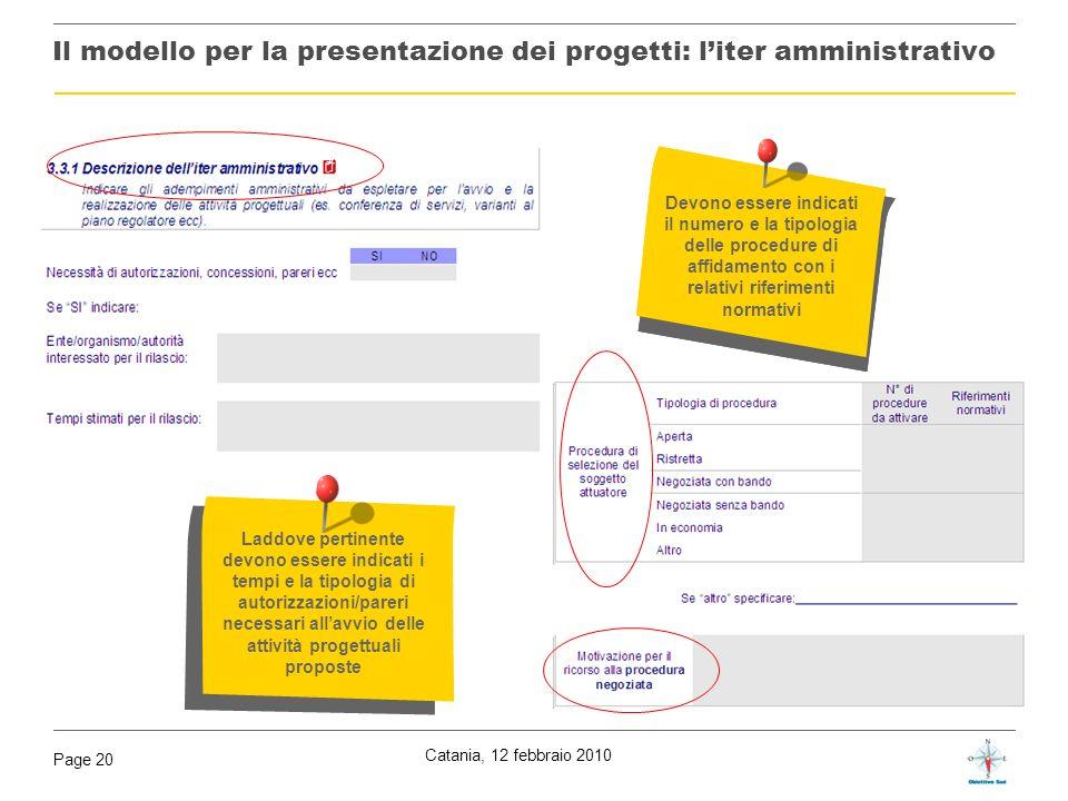 Il modello per la presentazione dei progetti: l'iter amministrativo