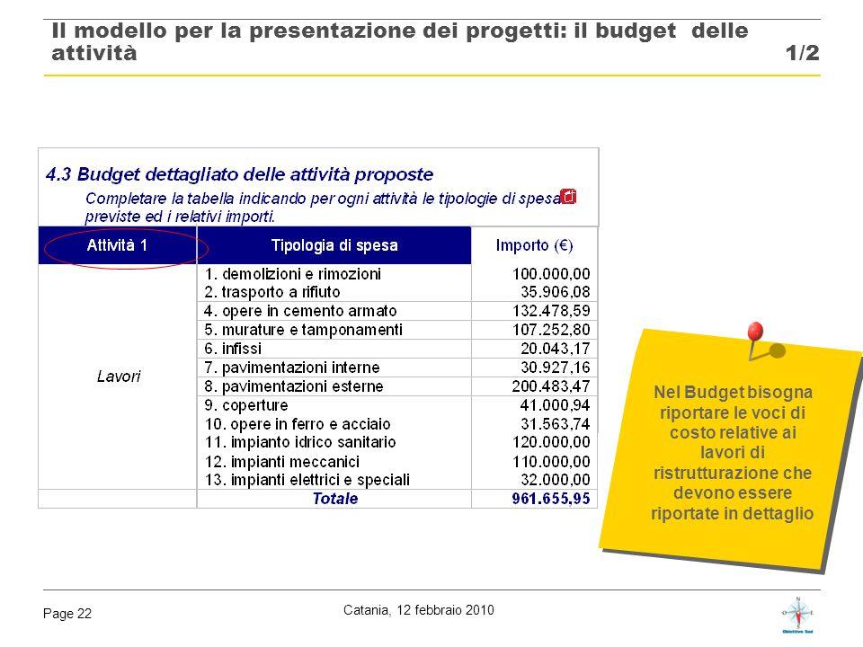 Il modello per la presentazione dei progetti: il budget delle attività