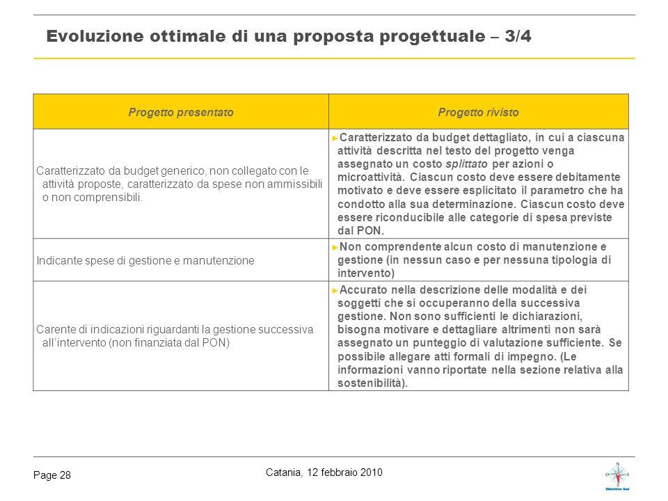 Evoluzione ottimale di una proposta progettuale – 3/4