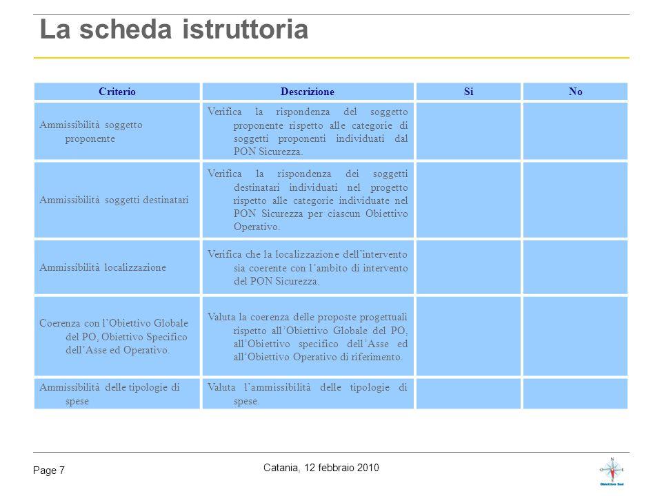 La scheda istruttoria Criterio Descrizione Si No