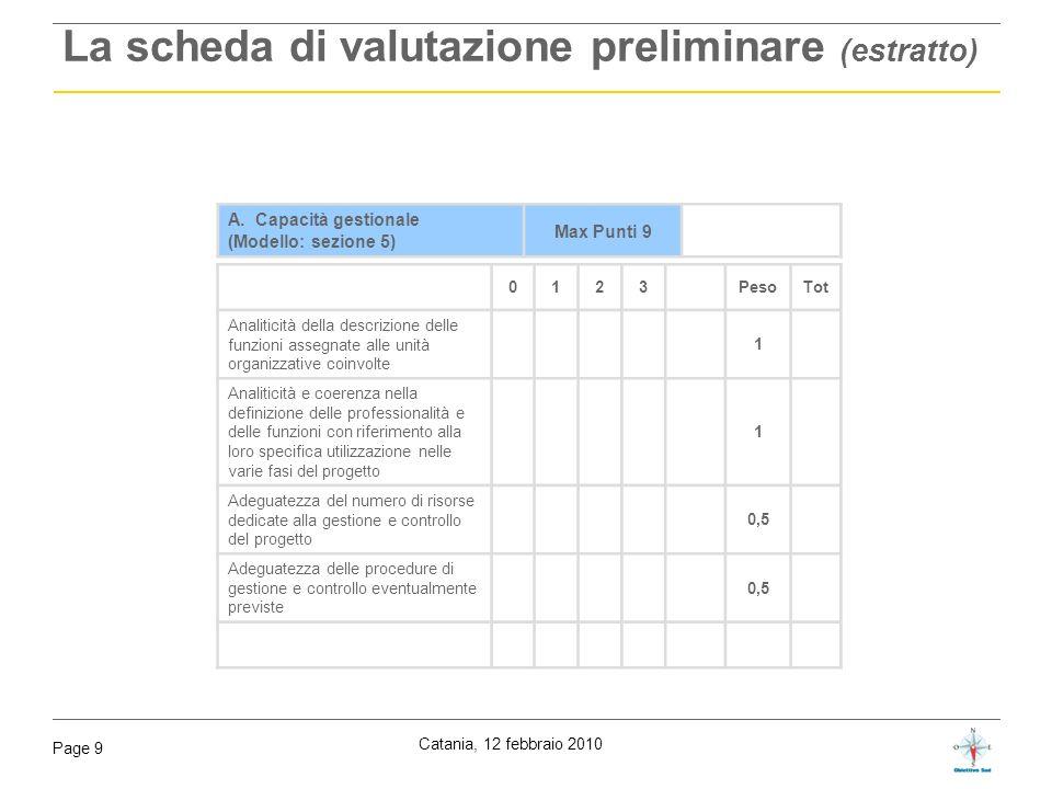 La scheda di valutazione preliminare (estratto)