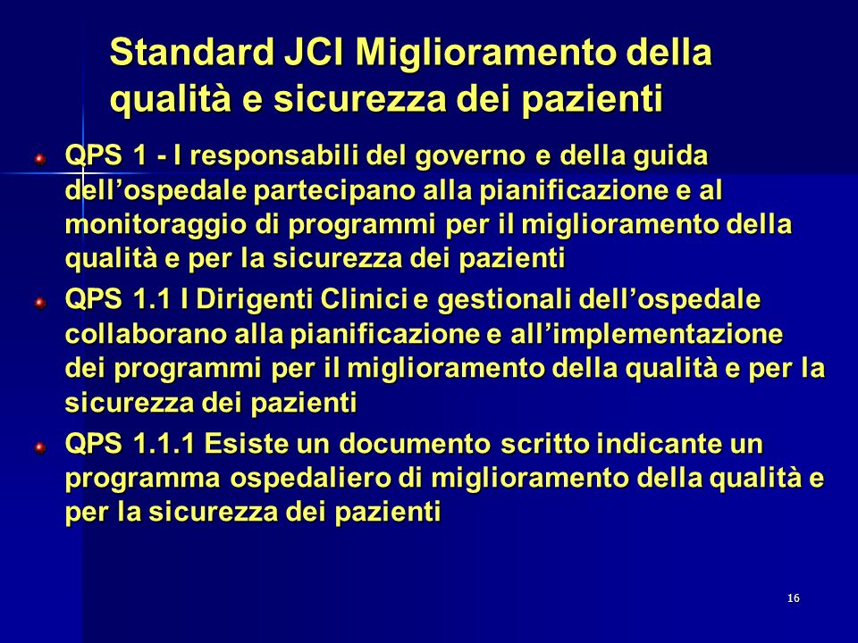 Standard JCI Miglioramento della qualità e sicurezza dei pazienti