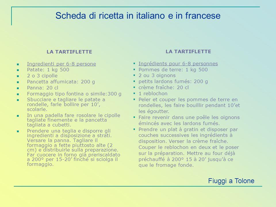 Scheda di ricetta in italiano e in francese