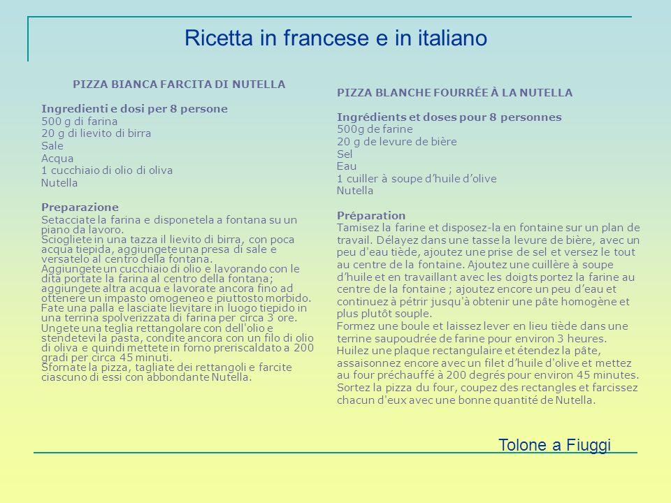 Ricetta in francese e in italiano