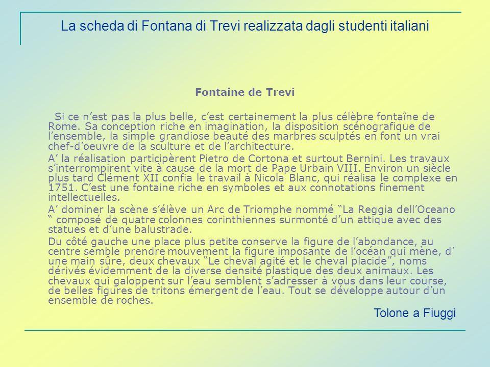 La scheda di Fontana di Trevi realizzata dagli studenti italiani