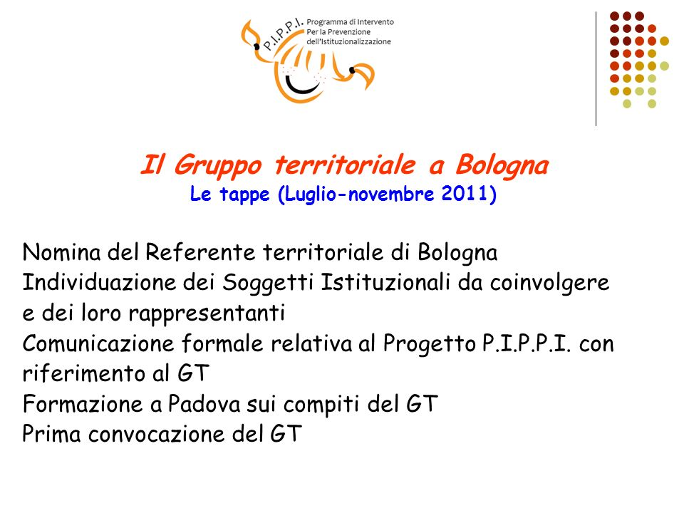 Il Gruppo territoriale a Bologna Le tappe (Luglio-novembre 2011)