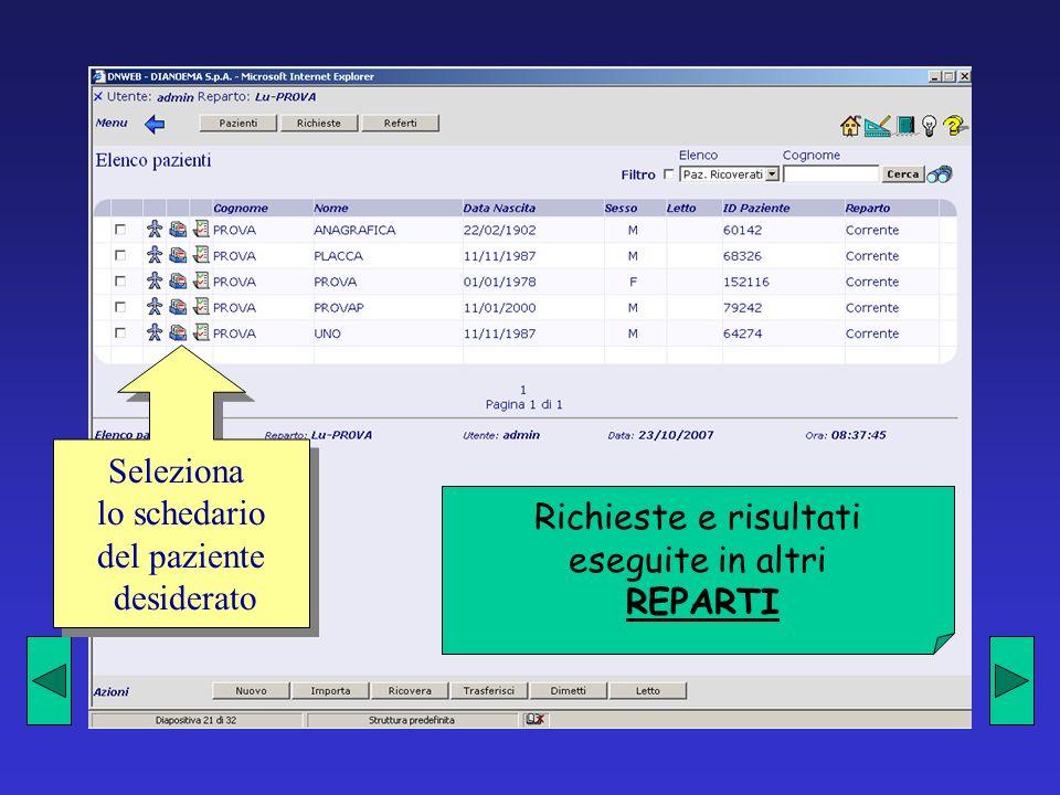 Seleziona lo schedario del paziente desiderato Richieste e risultati eseguite in altri REPARTI