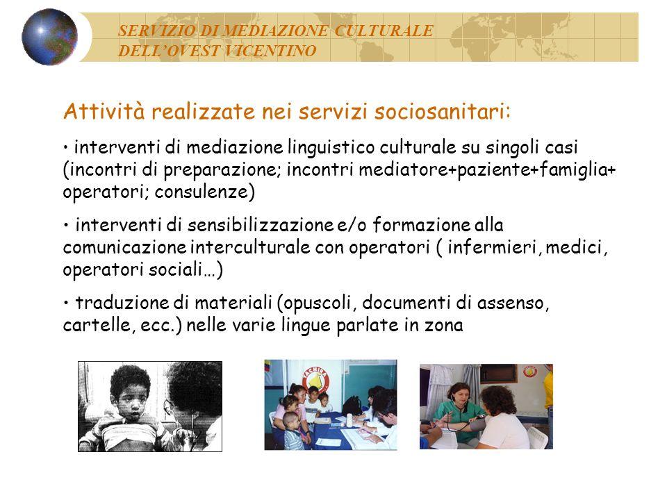 Attività realizzate nei servizi sociosanitari: