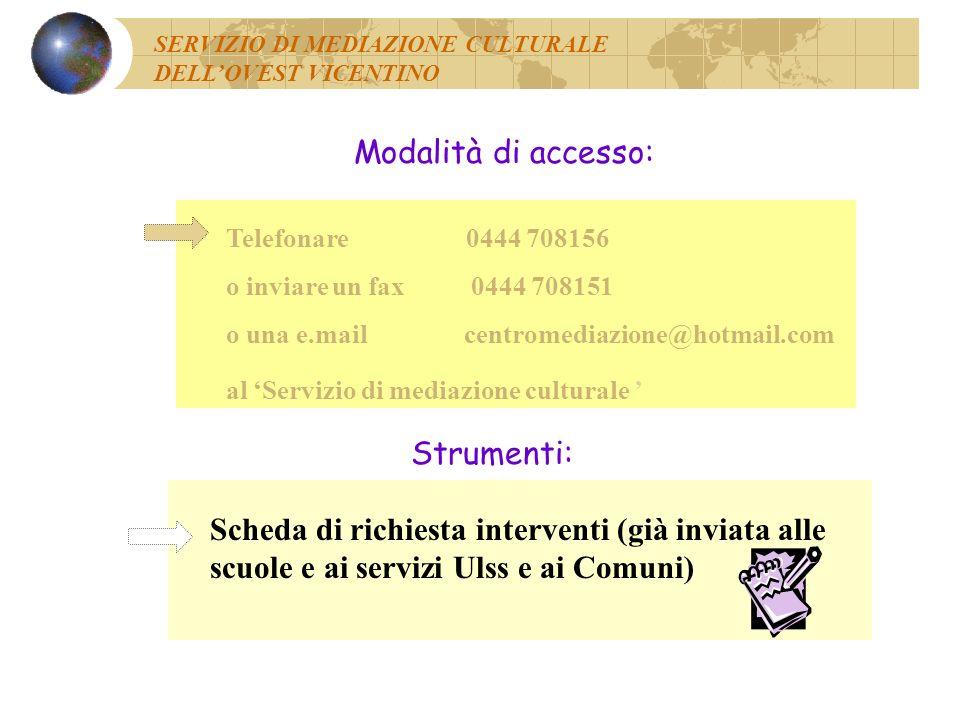 Modalità di accesso: Strumenti: