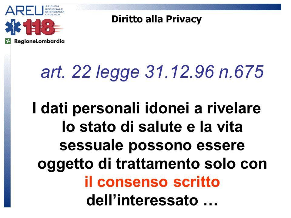 Diritto alla Privacy art. 22 legge 31.12.96 n.675.