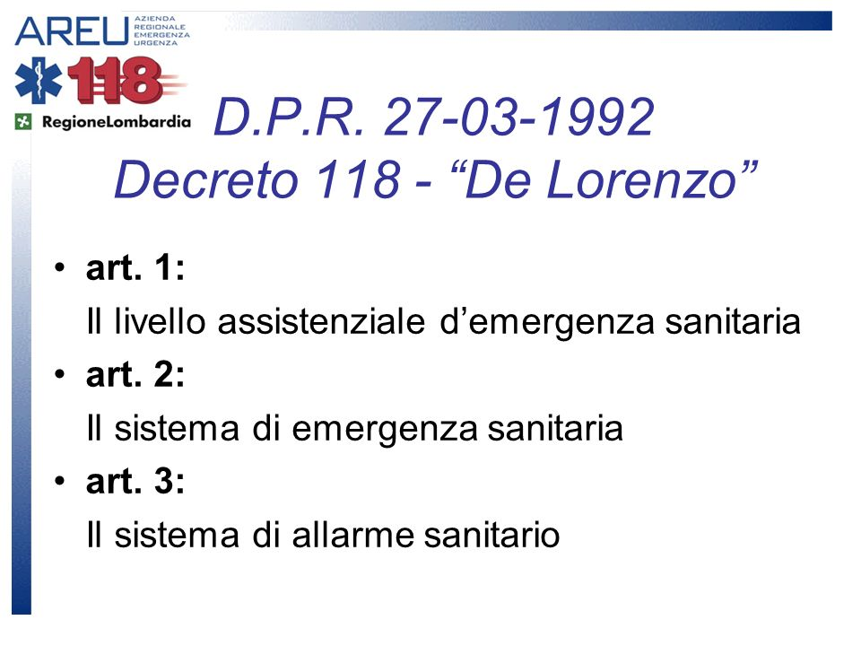 D.P.R. 27-03-1992 Decreto 118 - De Lorenzo