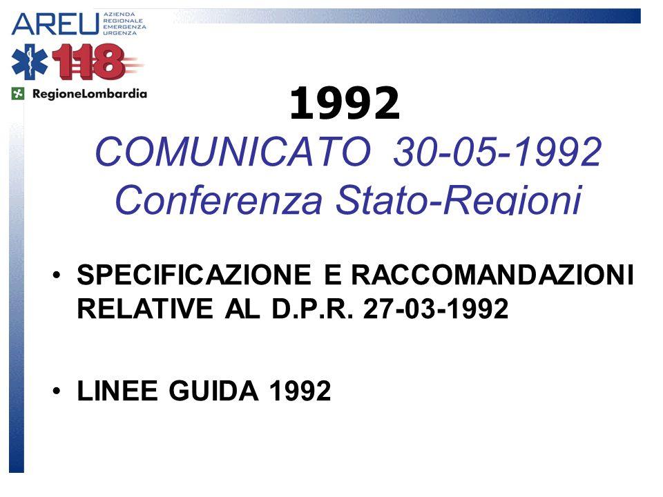 COMUNICATO 30-05-1992 Conferenza Stato-Regioni