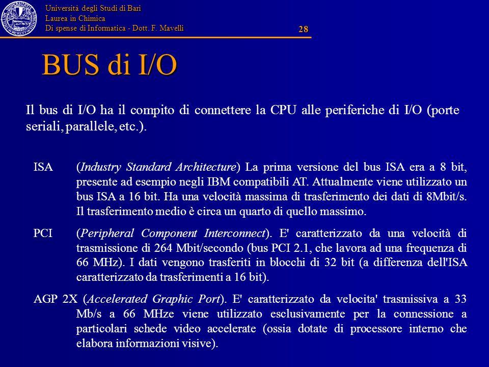 BUS di I/O Il bus di I/O ha il compito di connettere la CPU alle periferiche di I/O (porte seriali, parallele, etc.).