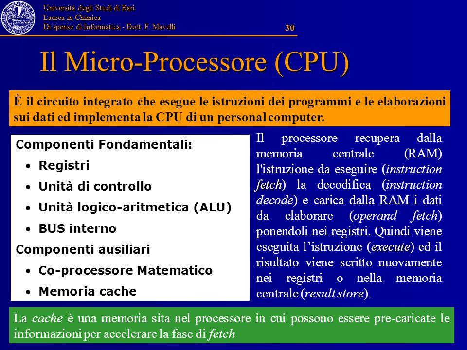 Il Micro-Processore (CPU)