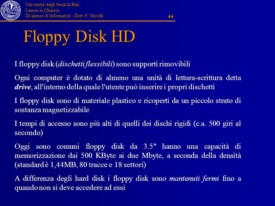 Floppy Disk HD I floppy disk (dischetti flessibili) sono supporti rimovibili.