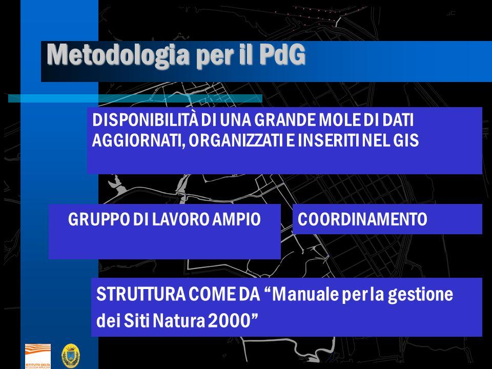 Metodologia per il PdG DISPONIBILITÀ DI UNA GRANDE MOLE DI DATI AGGIORNATI, ORGANIZZATI E INSERITI NEL GIS.