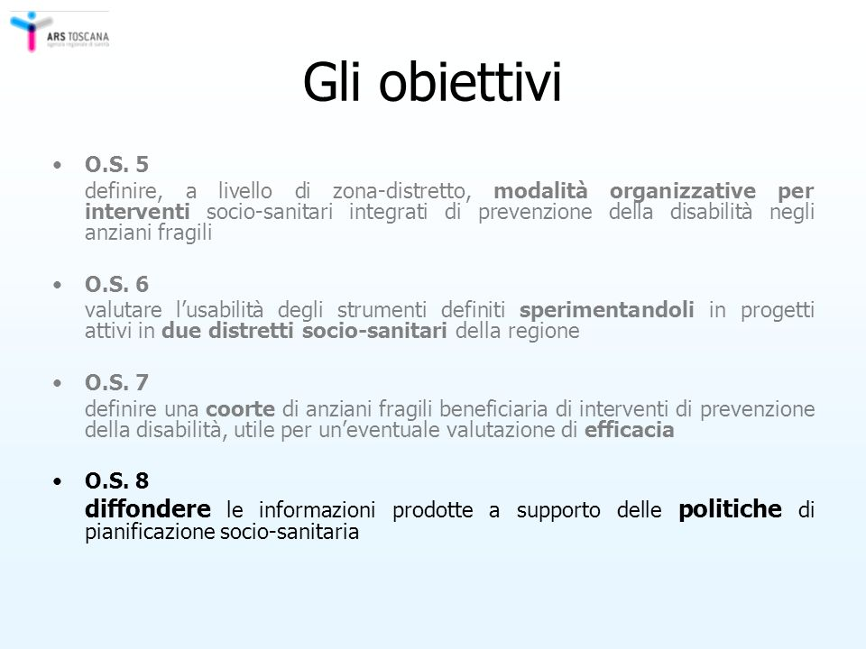 Gli obiettivi O.S. 5.