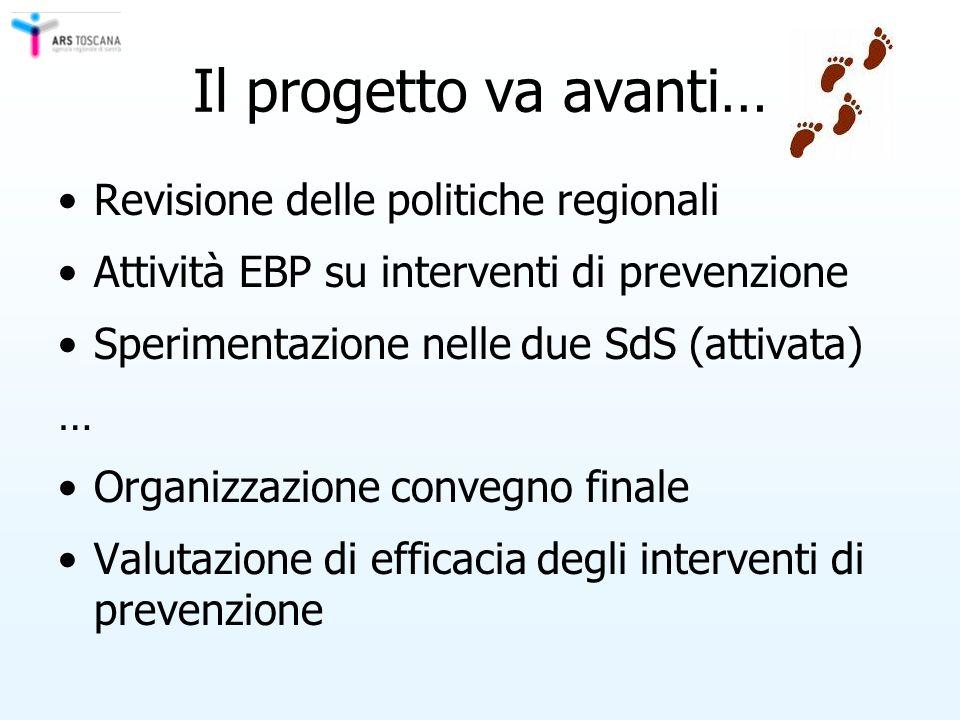 Il progetto va avanti… Revisione delle politiche regionali