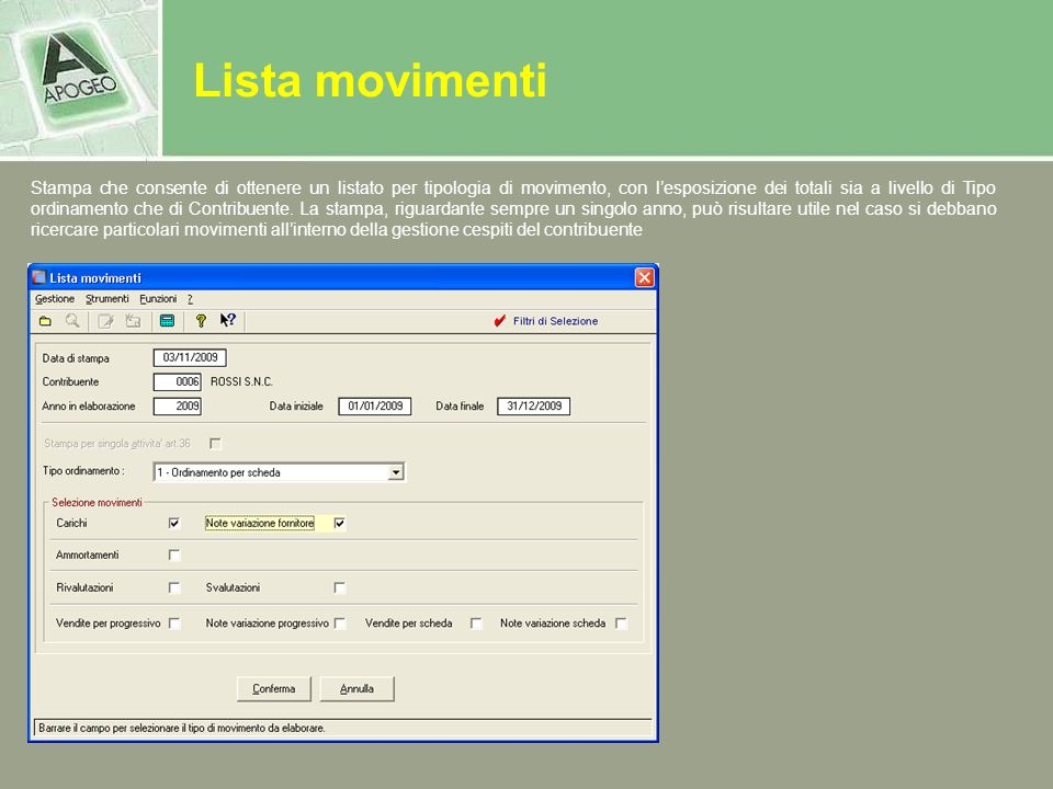 Lista movimenti