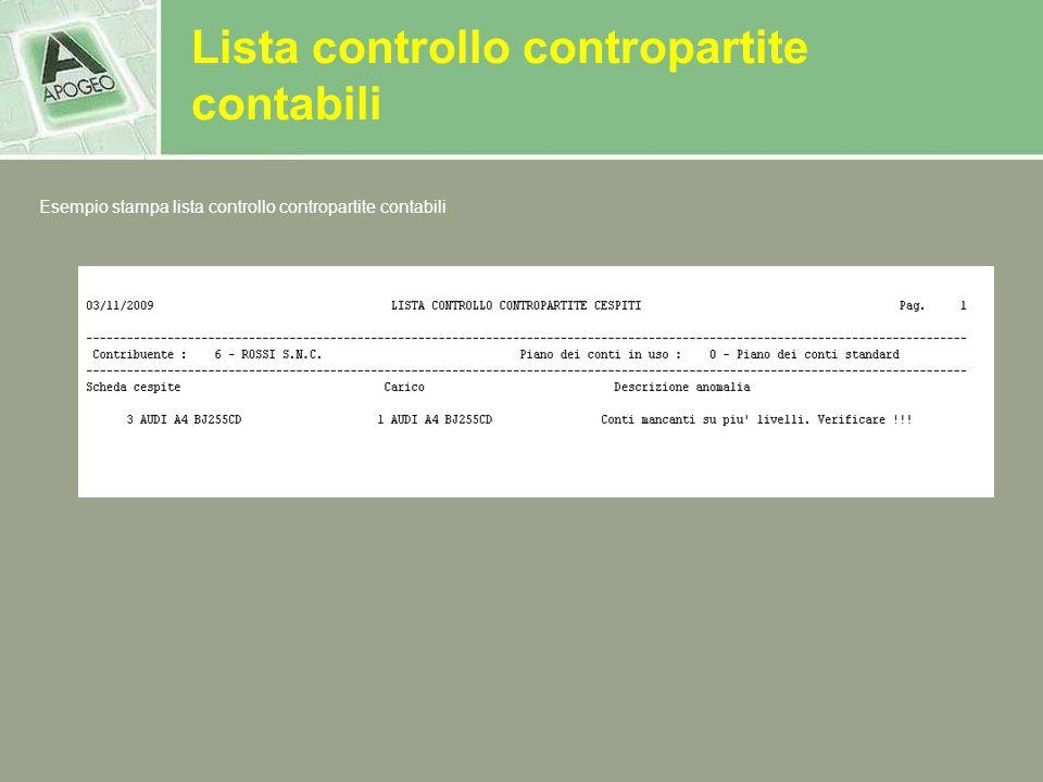 Lista controllo contropartite contabili