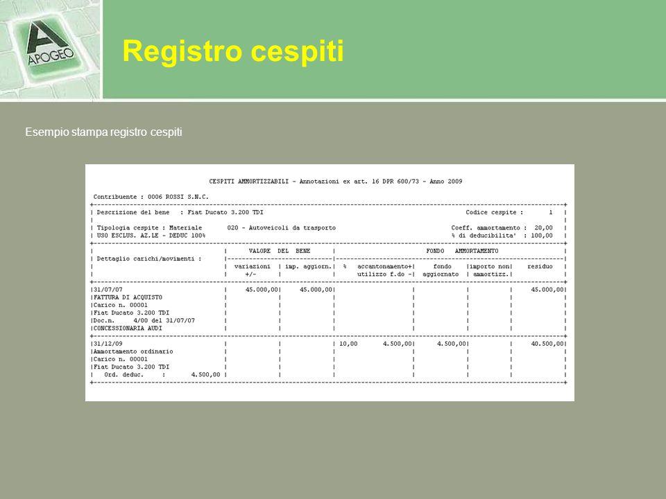 Registro cespiti Esempio stampa registro cespiti