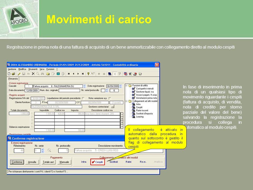 Movimenti di carico Registrazione in prima nota di una fattura di acquisto di un bene ammortizzabile con collegamento diretto al modulo cespiti.